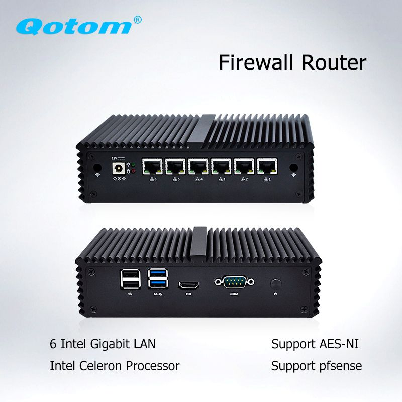 Qotom Mini PC 6 LAN Firewall Router Server Industrielle micro pc celeron core i3 i5 i7 vPro AES-NI Fanless pfsense mini Computer