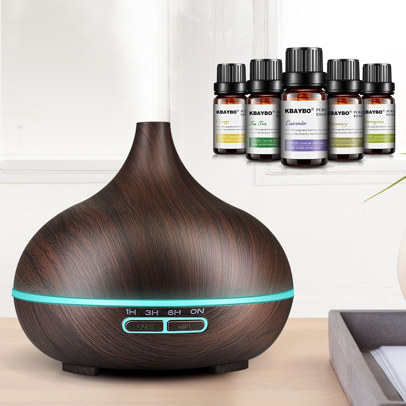 300ml Ultrasonic Air Humidifier Aroma Essential Oil Diffuser with Wood Grain 7 Color <font><b>Changing</b></font> LED Lights for Office Home