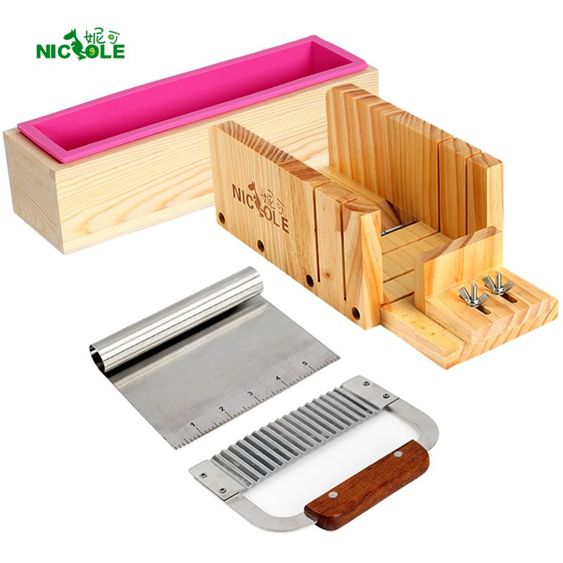 Nicole <font><b>Silicone</b></font> Mold Soap Making Tool Set-4 Adjustable Wooden Loaf Cutter Box 2 Pieces Stainless Steel Blades for DIY Handmade