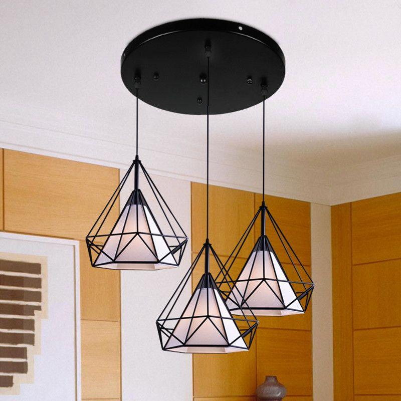 Vintage Pendant Light Bar White Lighting Office Hotel Kitchen Black Lights Study Antique Ceiling Lamps Free Bulbs 1set(3pcs)