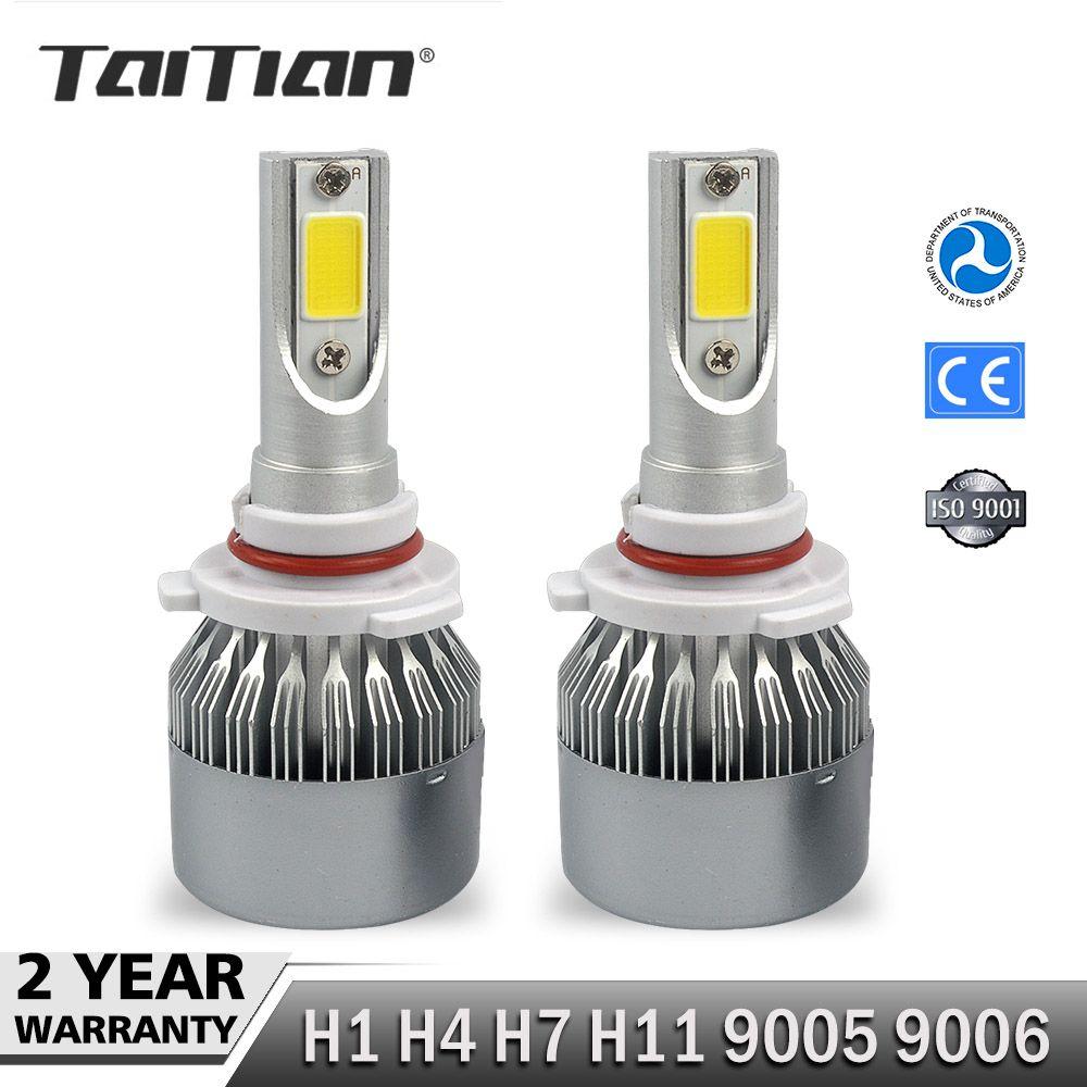 Taitian 2 Stücke COB 12 V 72 Watt PLAY-60W 7600LM 6000 Karat Canbus h7 led-scheinwerfer Kit H1 H4 hallo lo H11 led-lampe 9005 HB3 9006 HB4 Leuchtmittel für audi a4