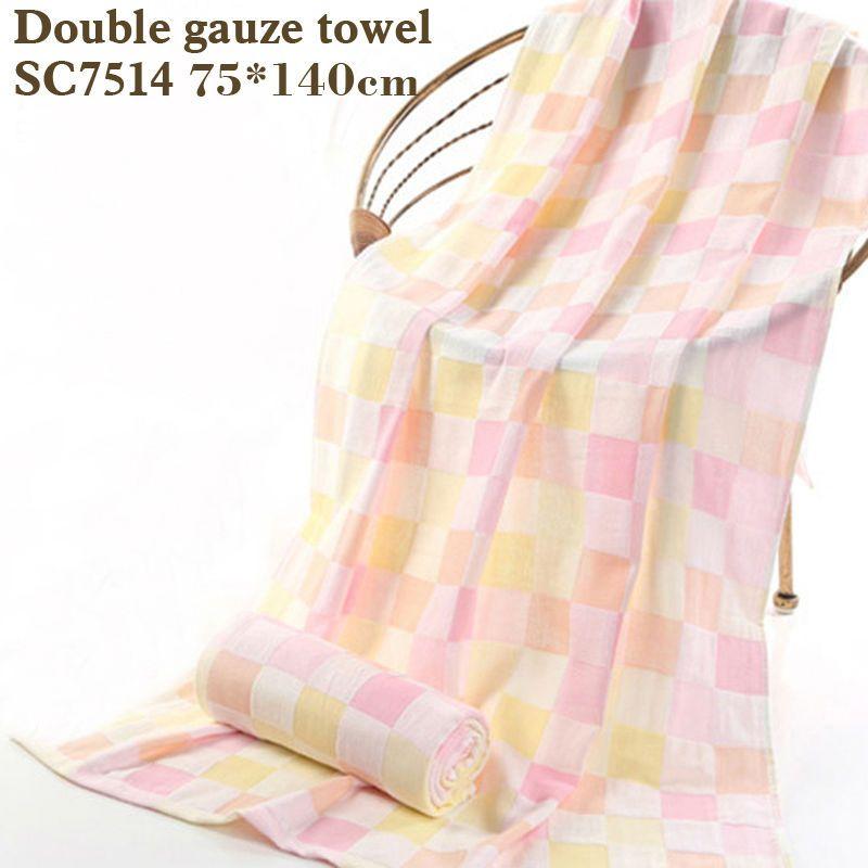 Coton serviette de bain double gaze carrés imprimé bébé towelThin section facile à sec Ne pas laver coton terry serviette gaze serviette