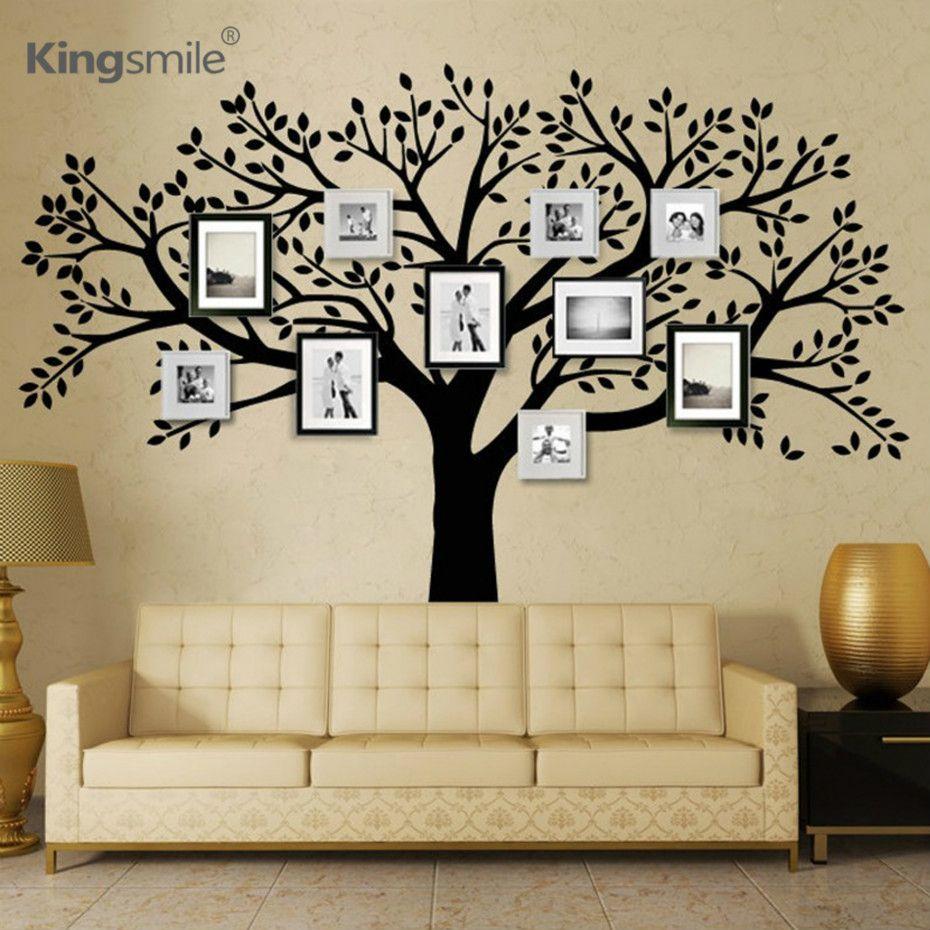 Énorme Famille Photos Arbre Vinyle Stickers Muraux Noir Arbre Branches Stickers Wallpaper Wall Sticker pour Salon Canapé Décor À La Maison