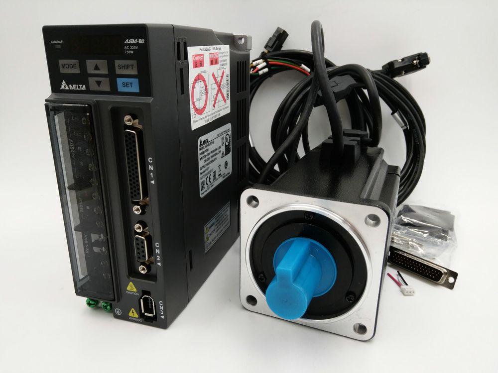 Original Delta 750 Watt AC Servo Motor Drive Kit 0.75KW Servosystem ECMA-C20807RS + ASD-B2-0721-B 3000 rpm 80mm mit 3 mt Kabel Neue