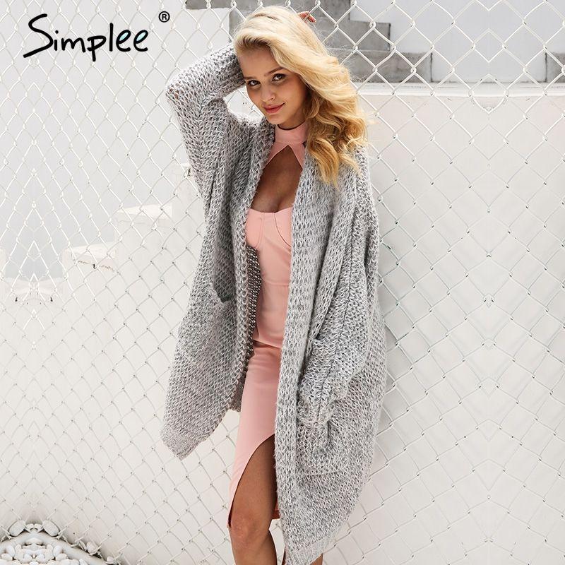 Simplee Casual knitting long cardigan female Loose kimono cardigan knitted jumper 2017 warm winter sweater women cardigan
