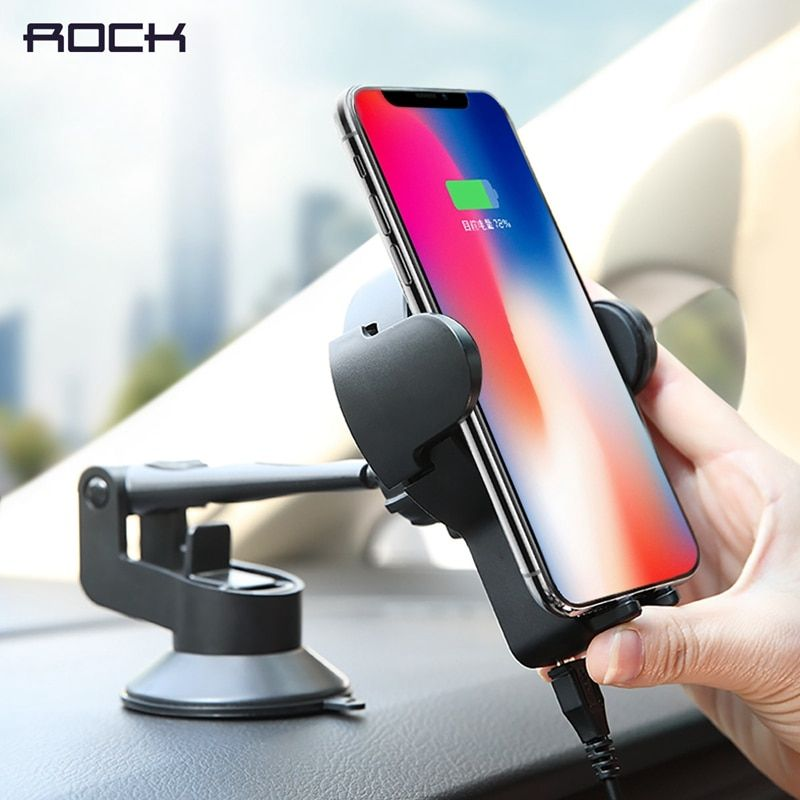 Qi Car Wireless Charger for iPhone X 8, ROCK 5W Wireless Car Charger for Samsung, Car Holder Stand wireless charger