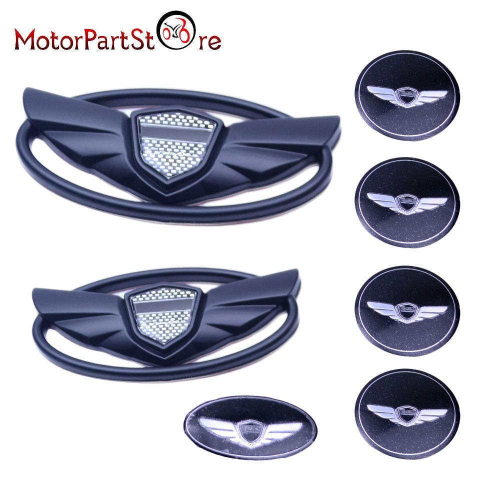 Matte Black ABS Sticker Wing Center Emblem Badges Set Kit Fit for 2010 2011 2012 2013 2014 Hyundai Genesis Coupe *