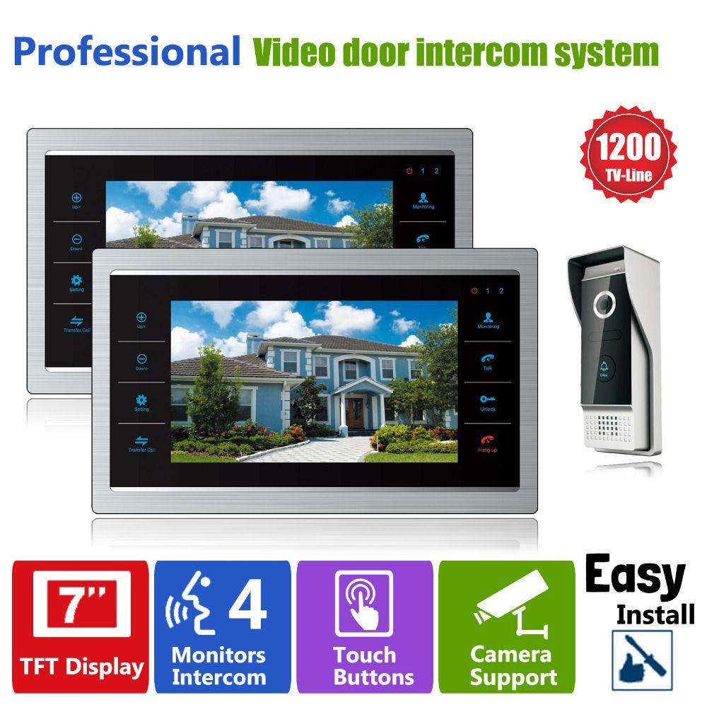 Homefong 7 inch Monitor Video Doorphones Intercom Recording 1 Camera 2 Monitor HD 1200TVL Rainproof Door bell Camera 12V