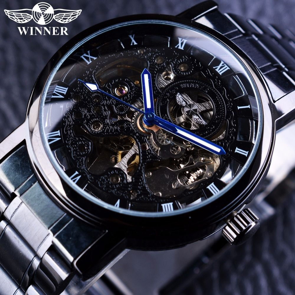 Winner Skeleton Black Stainless Steel Blue Hands Luminous Mens Watches Top Brand Luxury Watch Men Montre Homme Automatic Watches