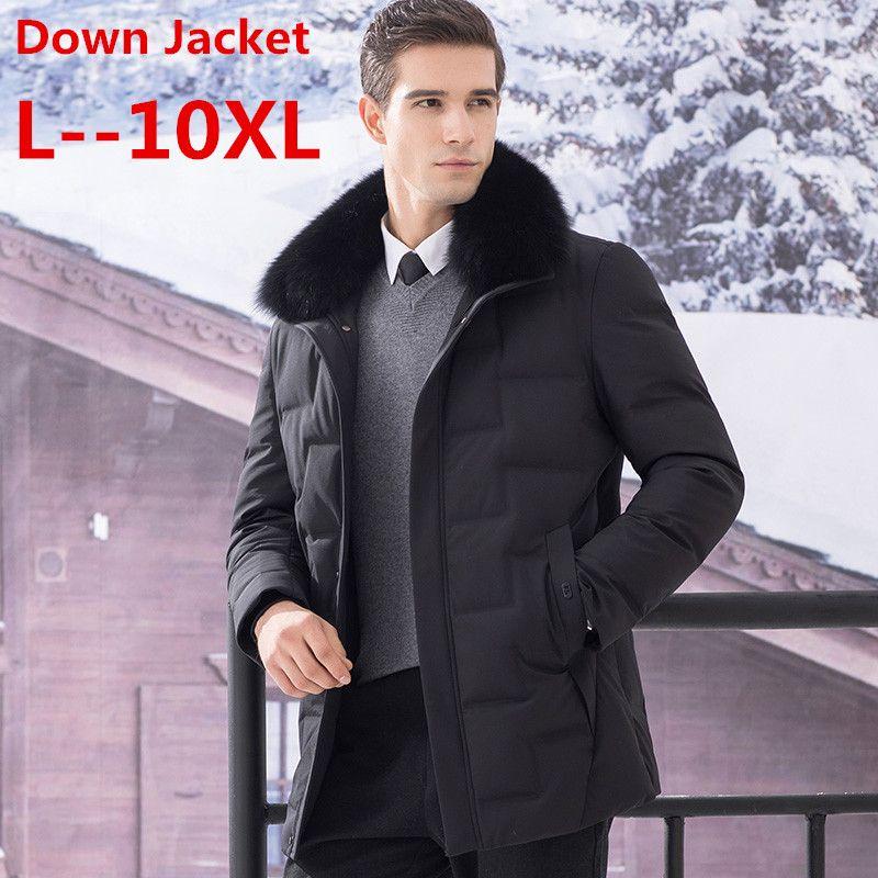 Große 10XL 8XL 6XL Pelz kragen männer unten jacke marke winter jacke männer hohe qualität hut winddicht mantel männer weiße ente unten jacke