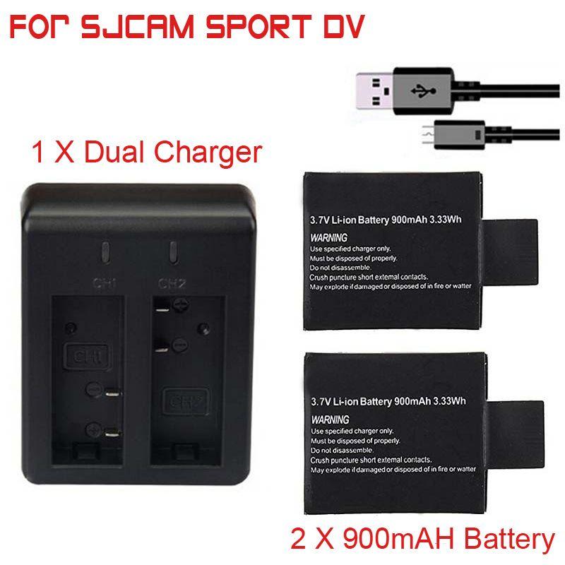 2 pièces X 3.7 V 900 mAh SJ4000 SJ5000 SJ6000 SJ7000 batterie + double chargeur de batterie pour SJCAM SJ 4000 5000 6000 7000 batterie de caméra