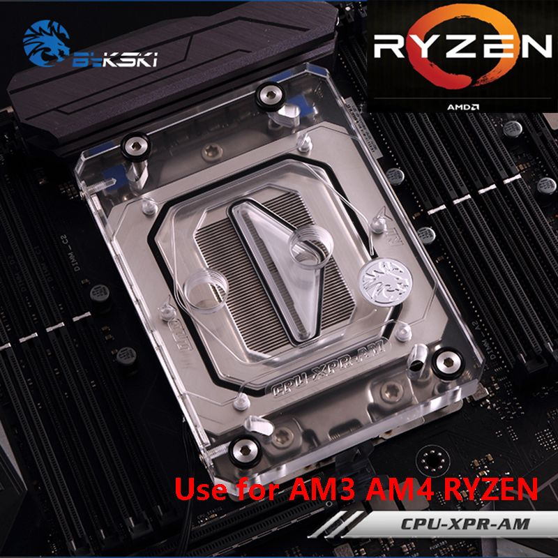 Bykski CPU Water Cooling Block Radiator use for AMD Ryzen AM4 AM3 X399 1950X Transparent Acrylic with AURA RGB RBW CPU-XPR-AM