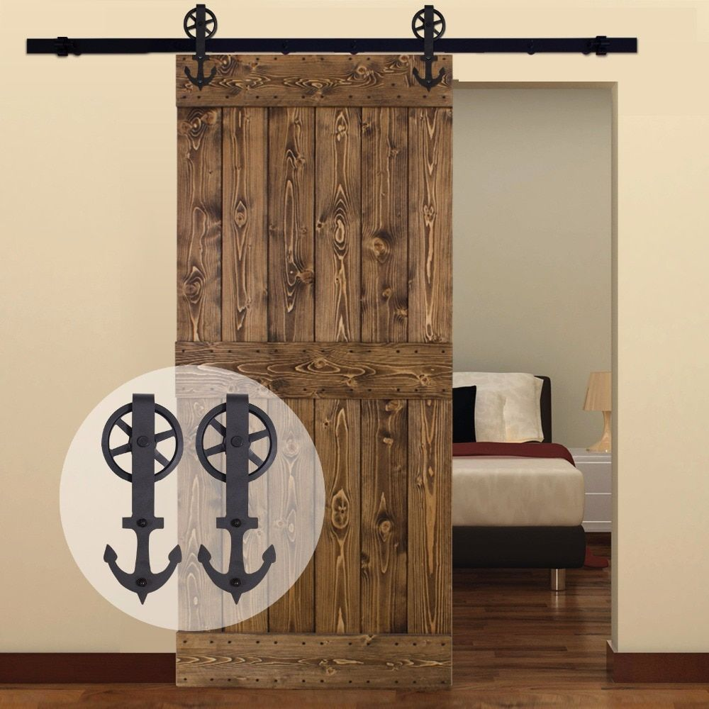 LWZH American Country Steel Sliding Barn Door Hardware with Big Rollers for Single Door Black 6.6FT/7FT/8FT/9FT for Single Door
