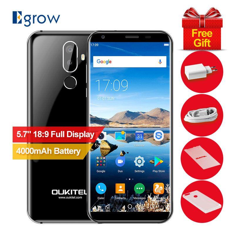 Oukitel K5 18:9 Display 5.7''HD+ Android 7.0 2GB RAM 16GB ROM MTK6737T Quad Core 13MP 3 Cameras 4000mAh Fingerprint Mobile Phone