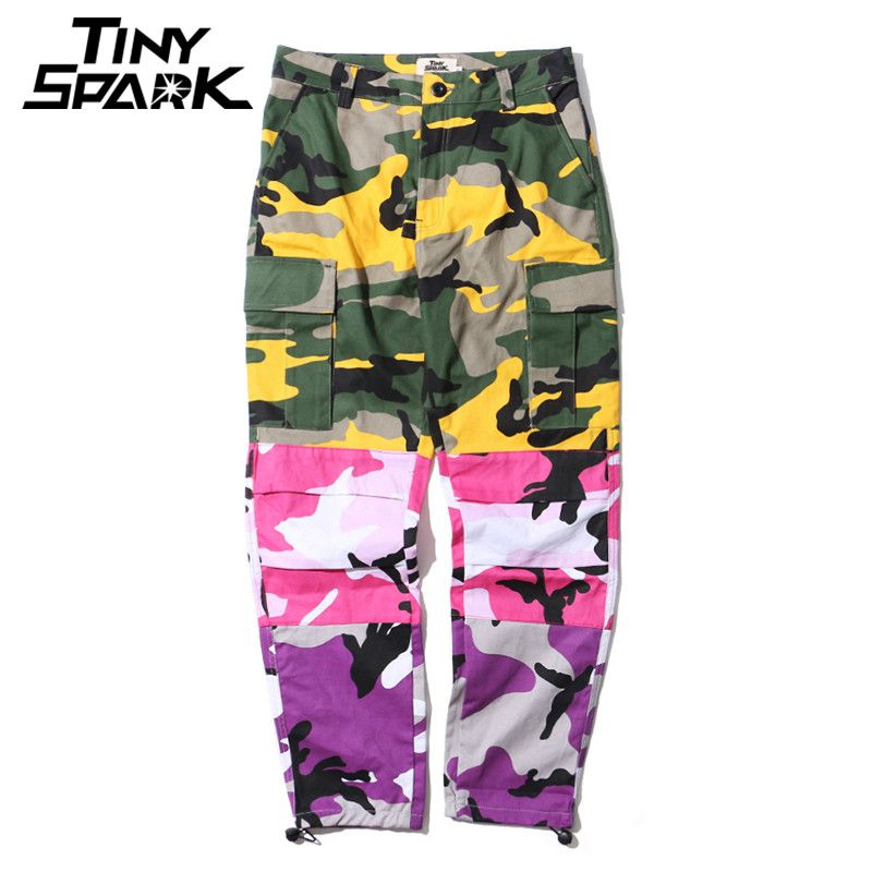 Tri Color Camo Patchwork Cargo Pants Men Baggy Tactical Trousers Hip Hop Casual Multi Pocket Pant Camouflage Streetwear 2018 New