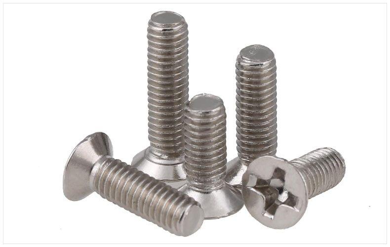 Vis à tête plate en acier au carbone vis M1.4 M1.6 M2 M2.5 M3 M4 vis Nickel plaqué KM vis