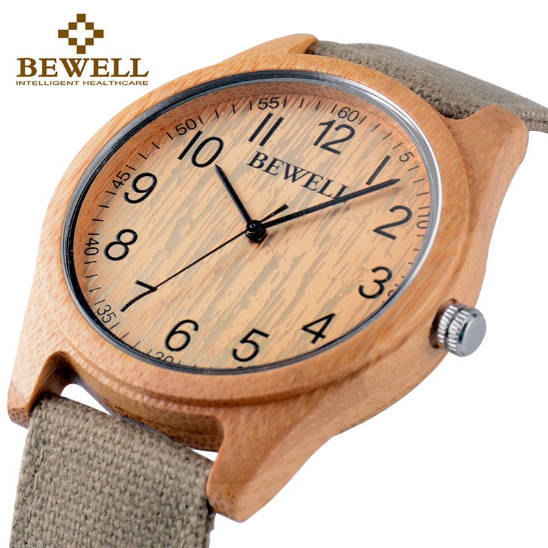 BEWELL Famous Brand Wood Watch <font><b>Analog</b></font> Digital Bamboo Clock Men Women Watch Male Watches Luxury Relogio Masculino Feminino 124B
