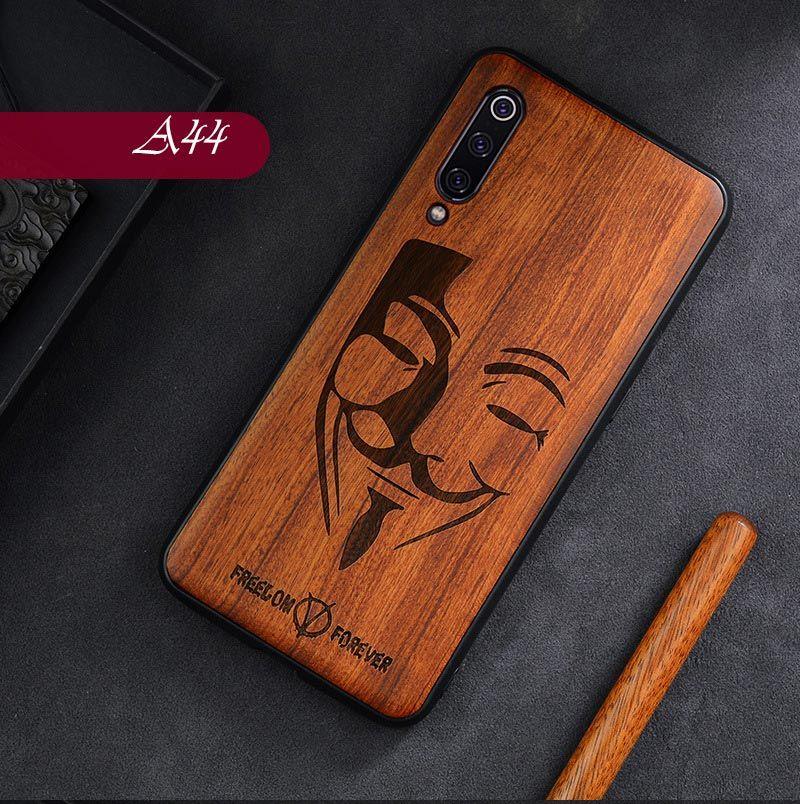 Pour Xiao mi mi mi x 3 2S pour mi 9T 9 9SE 8 SE CC9 CC9E rouge mi Note 8 Pro K20 couverture de sculpture sur bois massif tout compris Funda en bois