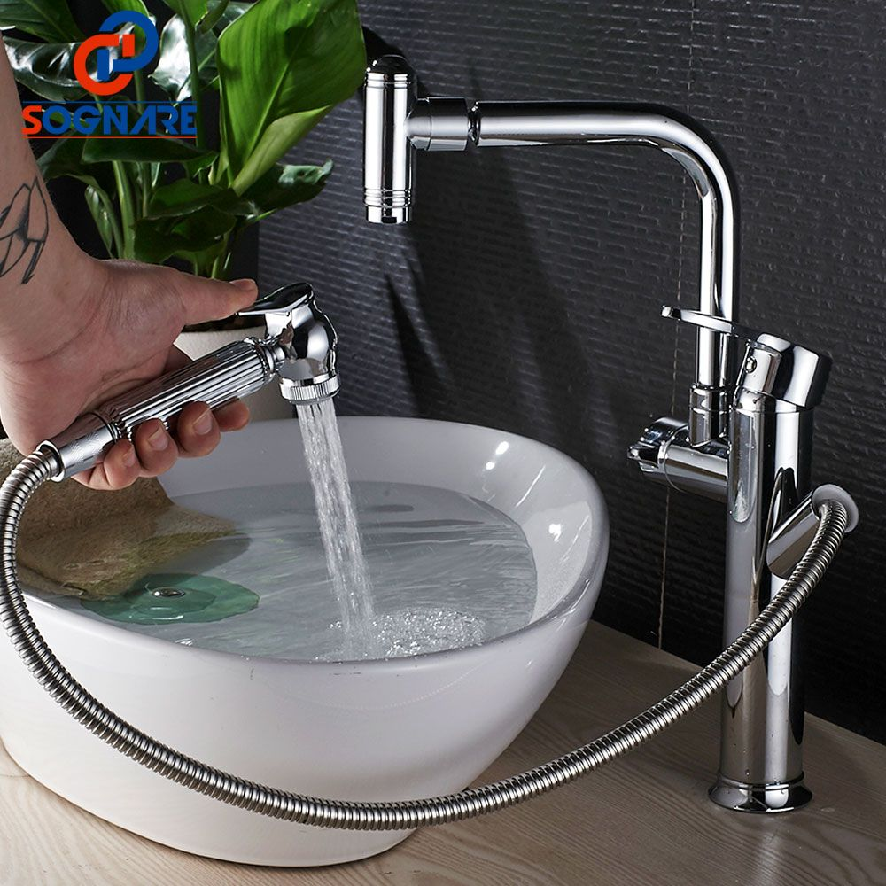 SOGNARE Single Handle Bathroom Faucet Basin Mixer Chrome Brass Pull Out Sink Faucet Swivel Spray Single Lever Mixer Tap Cold Hot