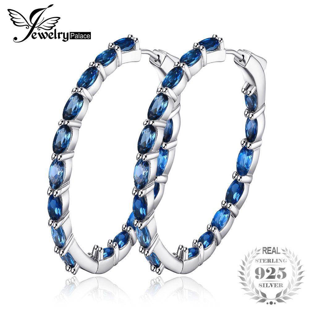 JewelryPalace Huge 13.5ct Genuine Londun Blue Topaz Hoop Earrings 925 Sterling Silver New Fine Jewelry For Women Wife Girl