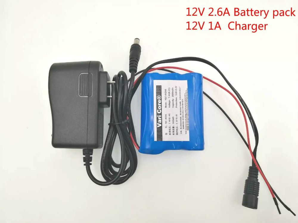 12 V 2600 mAh 18650 Li-ion Rechargeable battery <font><b>Pack</b></font> for CCTV Camera 2.6A Batteries+ 12.6V 1A Charger
