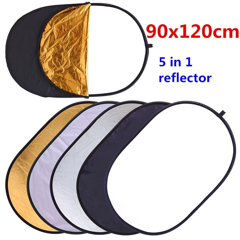 CY Free Shipping 90x120cm 5 in 1 Portable Collapsible Light Round Photography Reflector for Studio Multi Photo Disc accessories