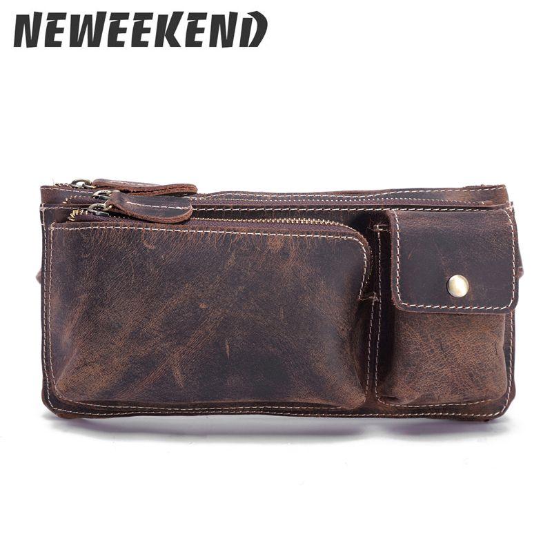 Vitange Style Men's Crazy Horse Genuine Leather Waist Bag Hip Bum Leg Drop Messenger Sling Bag Purse Pouch 3612