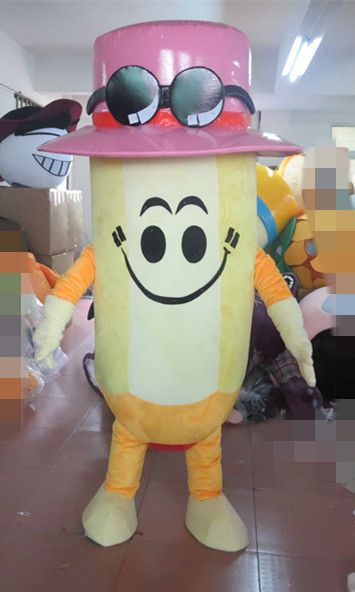 Yellow Lead Pencil Mascot Costume Wax Crayon Pastels Lip Rouge Rossetta LAPIZ LABIAL Bright Eyes for Halloween party