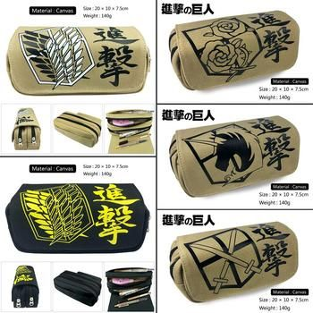 Attack on Titan Scout Regiment Canvas Pencil Case student pen bag Cartoon Makeup Bag cosmetic bag Zip Stationery Bag Stationery