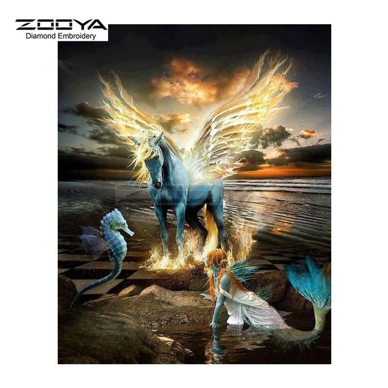 ZOOYA Diamond Embroidery 5D DIY Diamond Painting Horse Wings & Mermaid Diamond Painting Cross Stitch Rhinestone Mosaic BJ1909