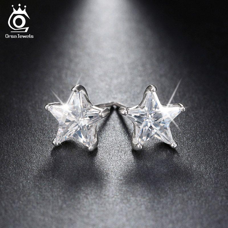 ORSA JOYAUX Pur 925 Sterling boucles d'oreilles en argent 0.8ct Cubique Zircon boucle d'oreille étoile pour les Femmes De Mariage Partie 2019 Nouveau Bijoux SE02