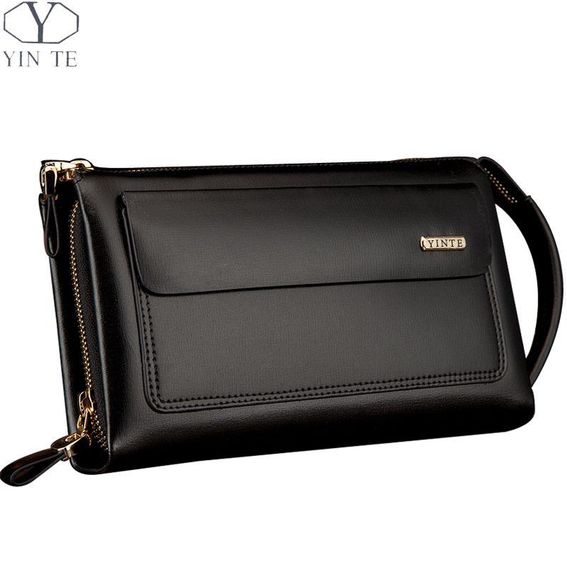 YINTE Business Männer Brieftasche Lange Designer Doppel-reißverschluss Leder Männlichen Geldbörse Marke Mens Kupplung Handliche Tasche Luxus Brieftaschen Portfolio