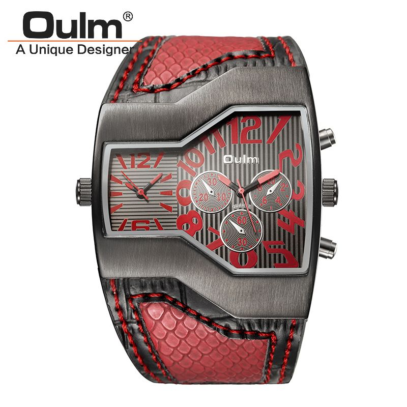 Oulm Top Luxury Brand Men Quartz Watches Double Time Show Snake <font><b>Band</b></font> Casual Male Sports Watches Clock Hours relogio masculino