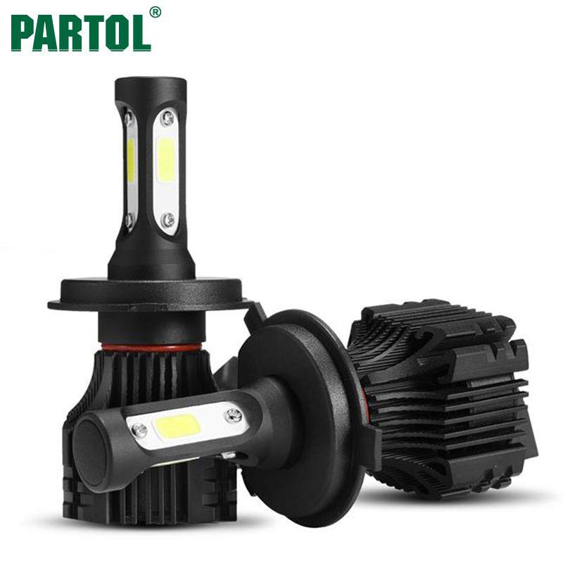 Partol S5 H4 H7 H11 H1 9005 <font><b>9006</b></font> H3 9007 COB LED Headlight 72W 8000LM All in one Car LED Headlights Bulb Fog Light 6500K 12V 24V