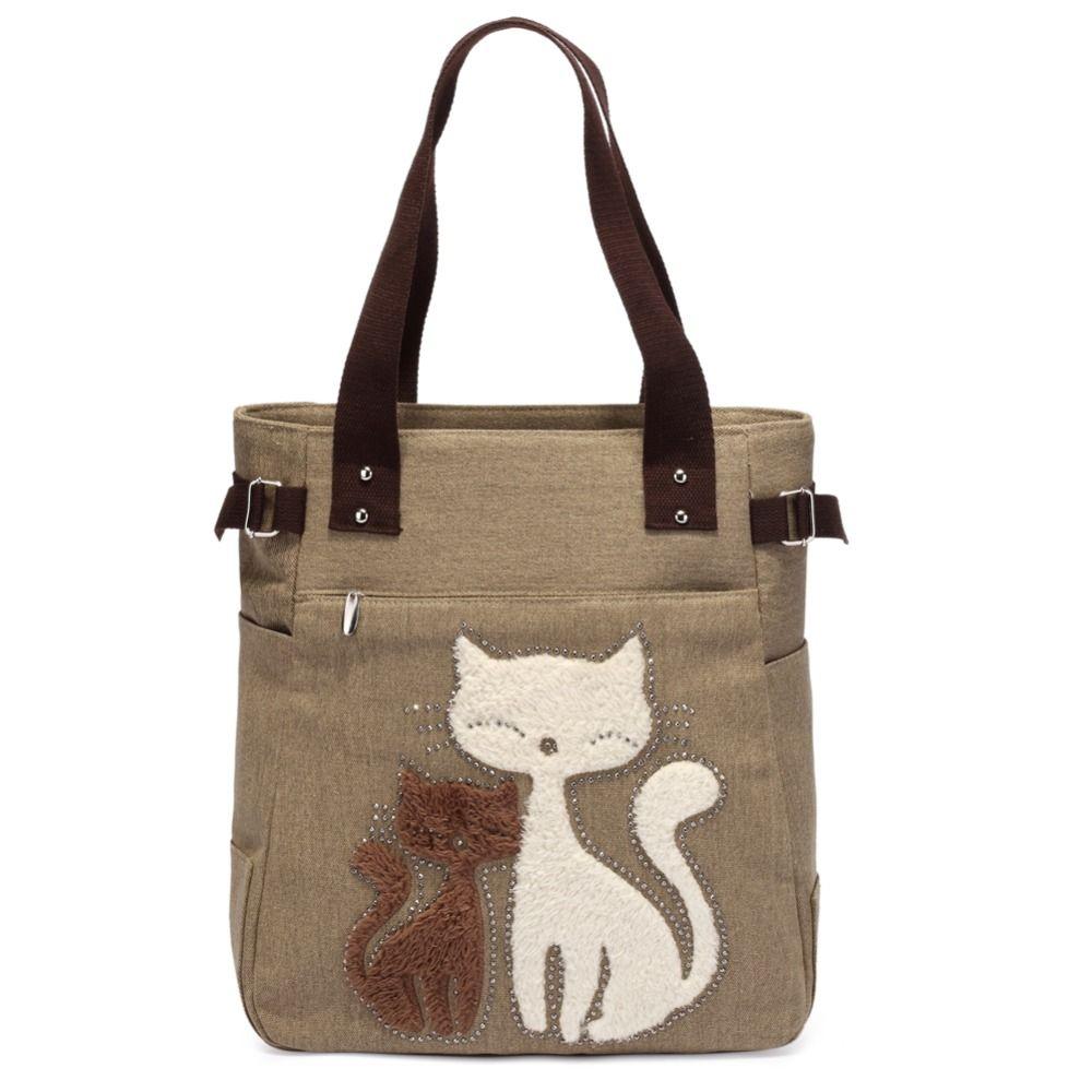 Cute Cat Women Canvas Handbag Casual Tote Bag Large Lady Handbags Women Solid Shoulder Bag Canvas Bag Sac a main Bolsos <font><b>Mujer</b></font>