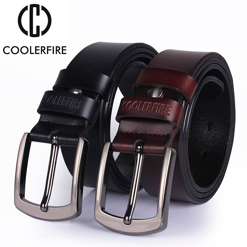 Ccoolerfire haute qualité en cuir véritable ceinture 2017 nouveau luxe concepteur hommes ceintures peau de vache mode boucle pour jean livraison gratuite