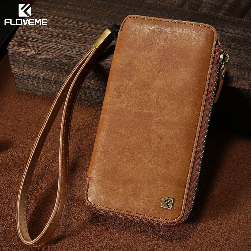 FLOVEME Leder Brieftasche Telefonkasten Für iPhone 6 6 s 7 Reißverschluss + Lanyard Beutel Handtasche Fällen Für Samsung Galaxy S7 S6 Edge Tasche