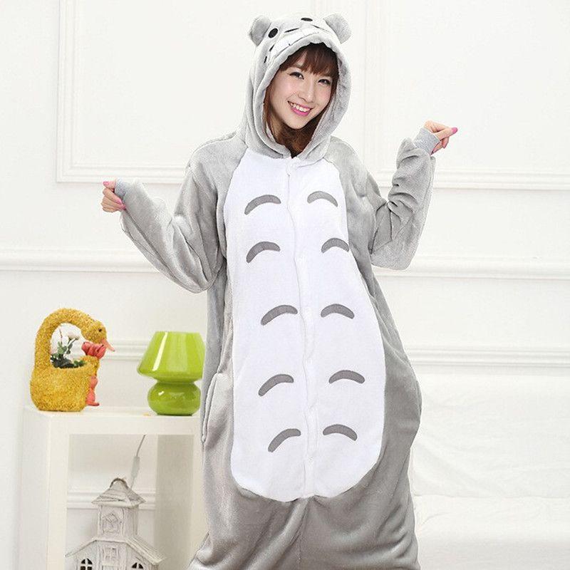 Winter Adult Women Pajamas Cartoon Pajama Sets Animal Pyjamas Flannel Sleepwear Totoro