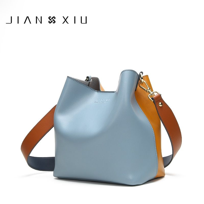 JIANXIU Brand Genuine Leather Shoulder Bags Spell Color Detachable Liner Bucket Bag Luxury Handbag Women Bags Designer 2018 Tote