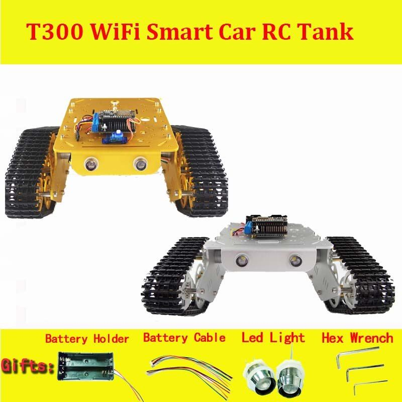 DOIT Wireless WiFi RC Full Metal Tank T300 from NodeMCU ESP8266 Development Kit with L293D Motor Shield DIY RC Toy