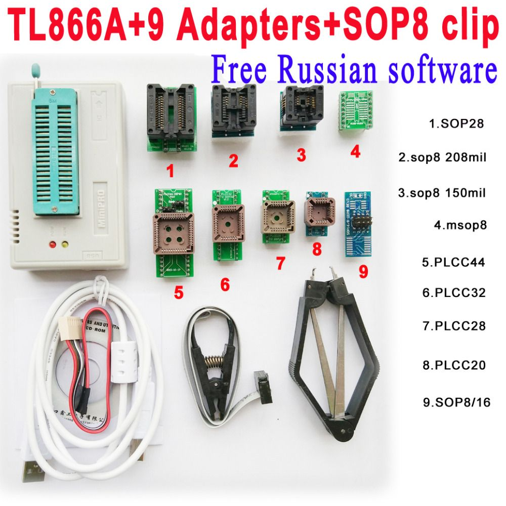 Free Russian software + Original Minipro TL866A programmer +9 adapter socket + SOP8 Clip IC clamp V6.6 Bios Flash EPROM EEPROM