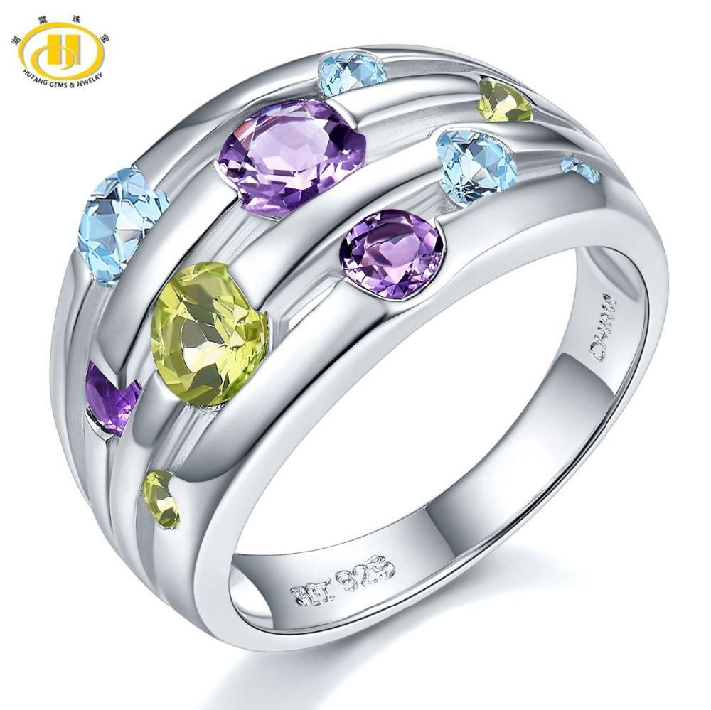 Hutang naturel améthyste anneaux de mariage péridot topaze 925 en argent Sterling Multi pierre gemme anneau Fine élégant bijoux pour les femmes cadeau