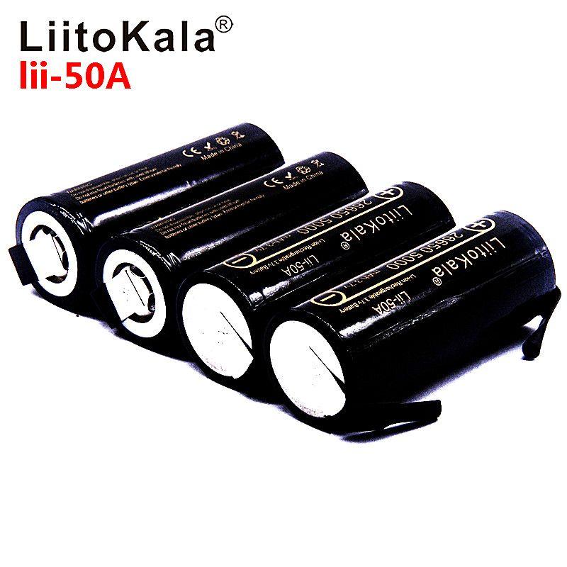 LiitoKala Lii-50A 26650 5000 mAh batterie au lithium, 3.7 V 5000 mAh, 26650 batterie rechargeable, 26650-50A adapté + bricolage feuilles de Nickel