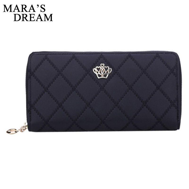 Mara's Dream Women Wallet Clutch Bag Vintage Crown Embellishment Plaid Wallets Female ID Card Holder Purse Phone Case Money Bag