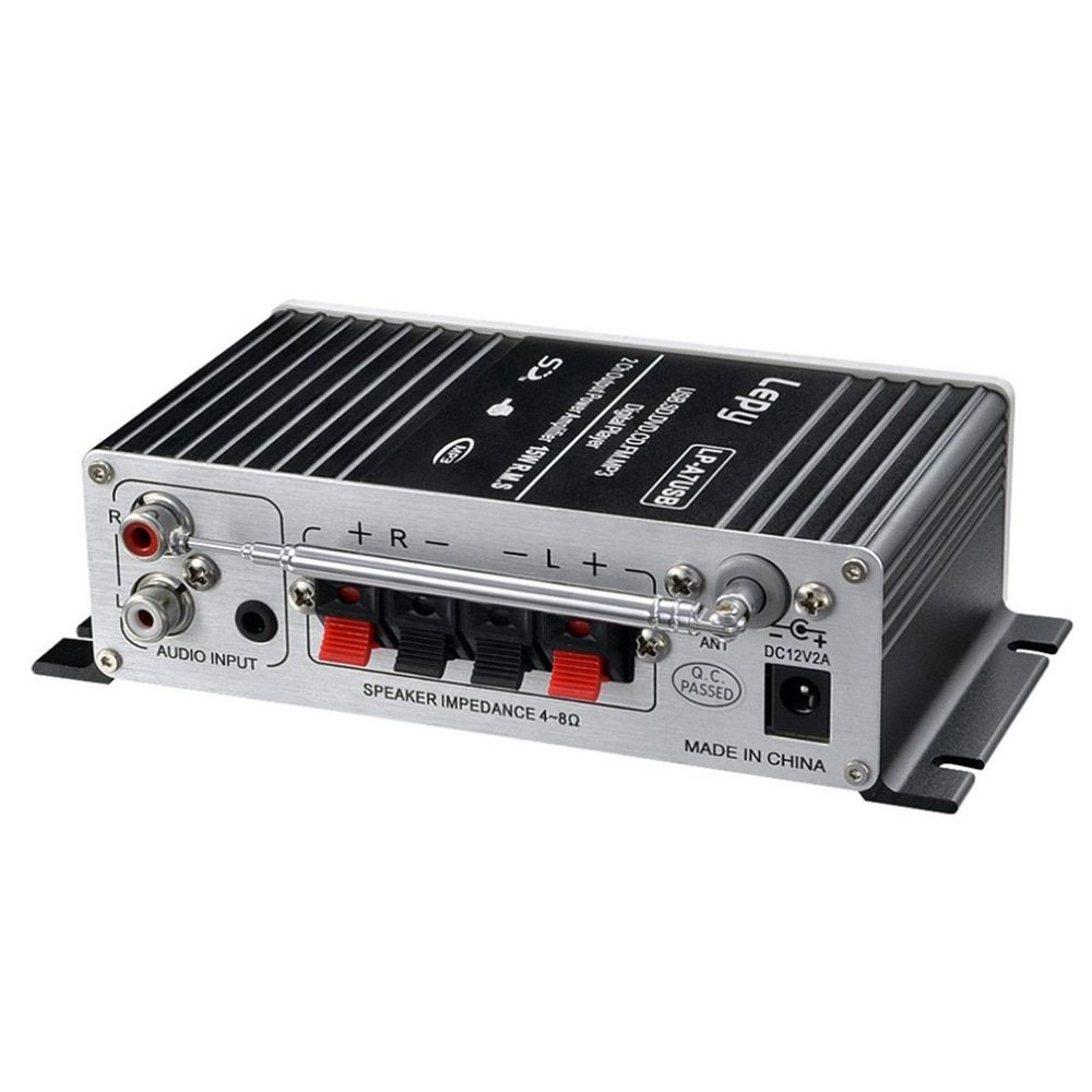 Car MP3 Hi-Fi Stereo Audio Amplifier Home Auto Motocycle Bass Speaker Boostrer Player with USB For Port DVD FM MMC 12V