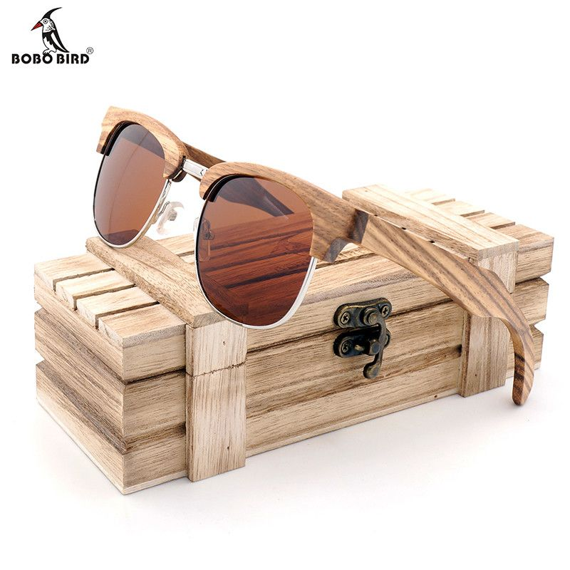 Бобо птица бренда зебра-полоса Дизайн Роскошные Солнцезащитные очки для женщин Для женщин оригинальные деревянные ручной работы Защита от ...
