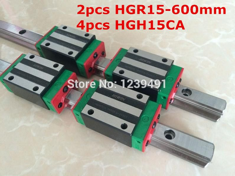 2pcs HIWIN linear guide HGR15 - 600mm  with 4pcs linear carriage HGH15CA CNC parts