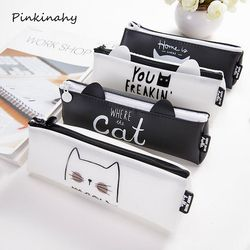 Korean Lovely Cat Triangle Silicone Waterproof School Pencil Cases Stationery Pencilcase Kawaii Bag Girls Pencil Case For School
