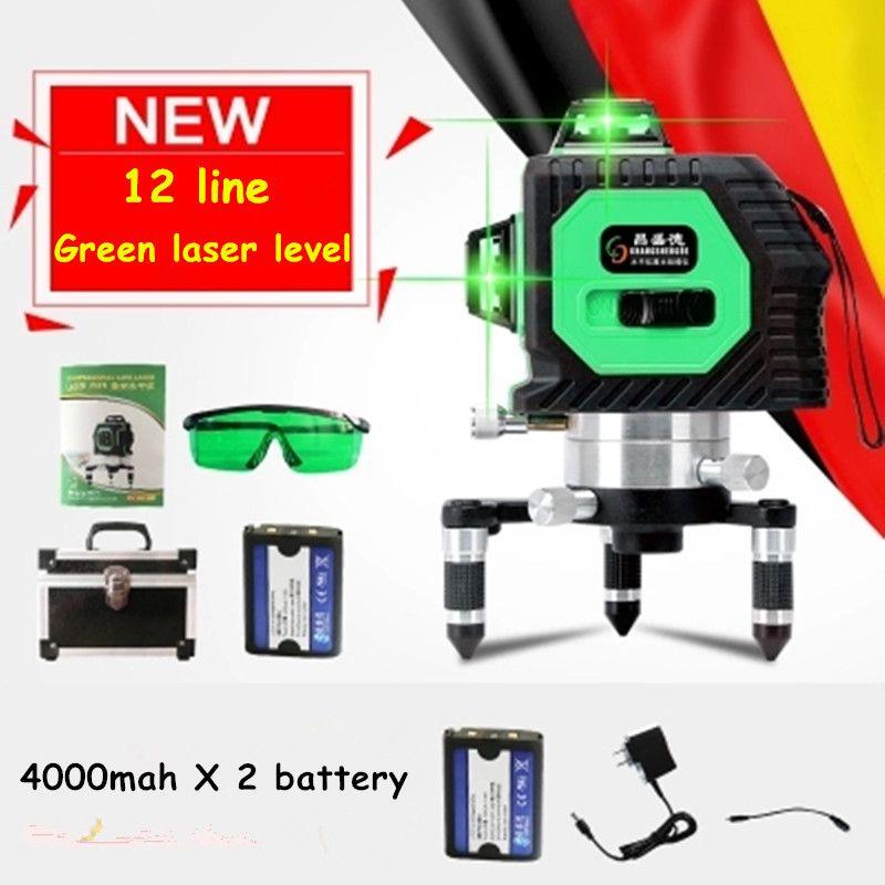 Profesional 12 línea 3D nivel láser 360 vertical y horizontal nivel láser autonivelante Cross Line 3D nivel láser línea Verde