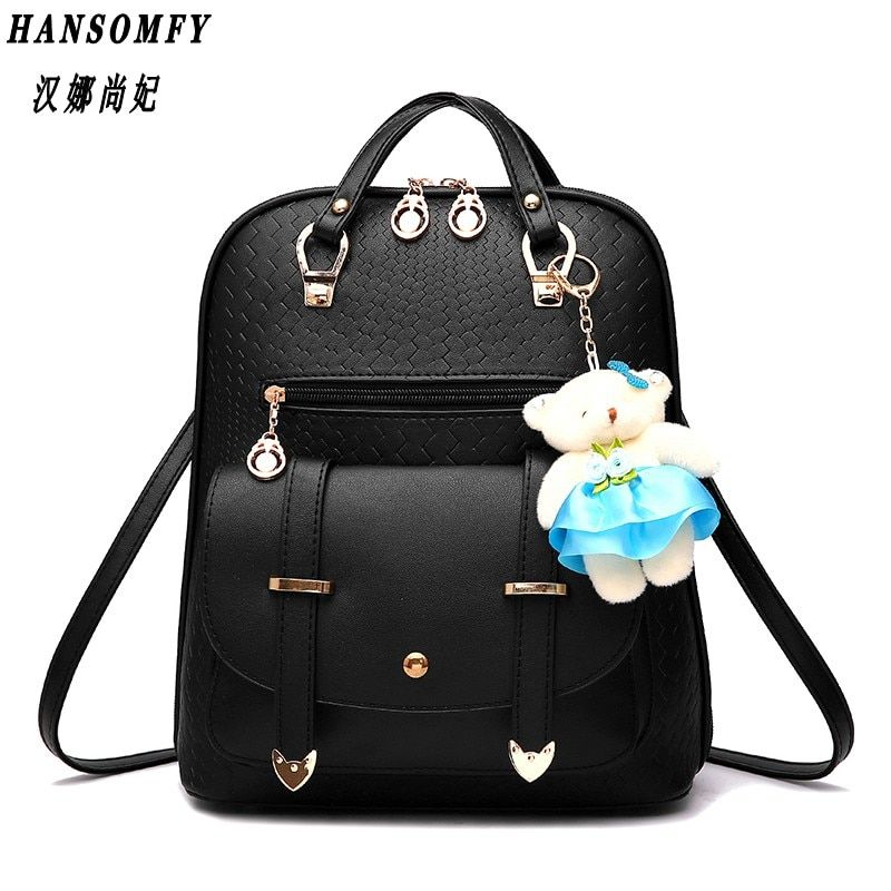 HNSF 100% Genuine leather Women backpack 2017 New female spring and summer new student backpack large capacity bag Korean women